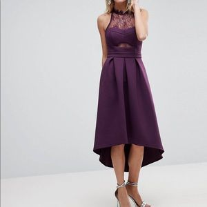 Mid-length, plum formal dress